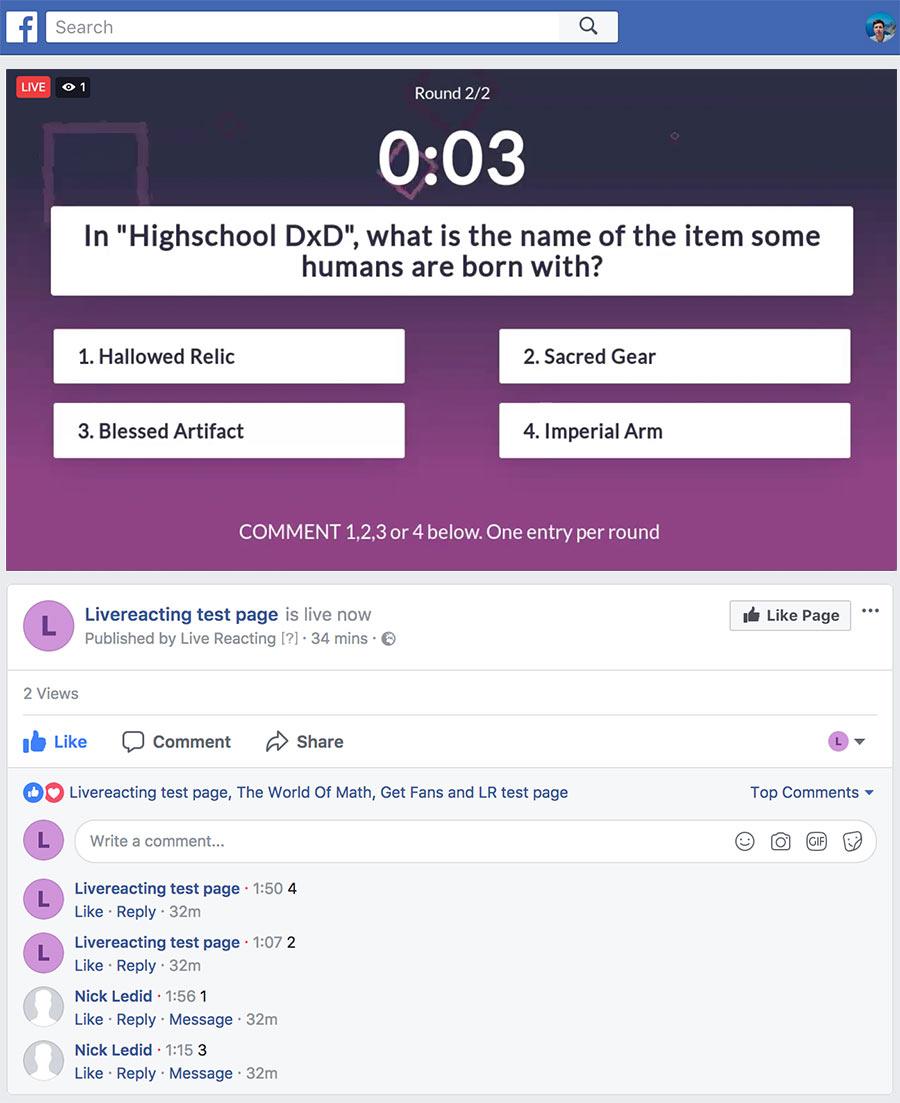 Facebook Live Trivia Game | LiveReacting