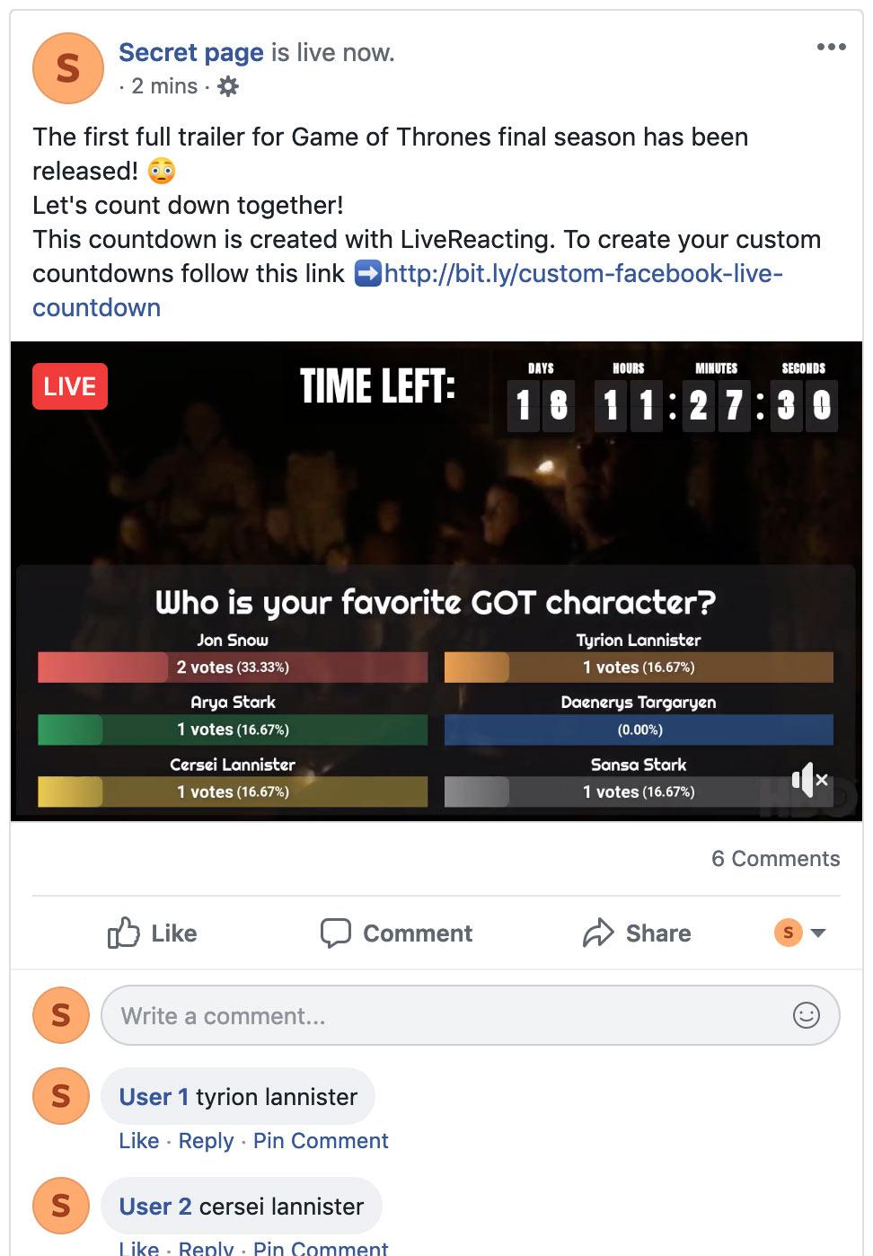 Facebook Live Poll | LiveReacting