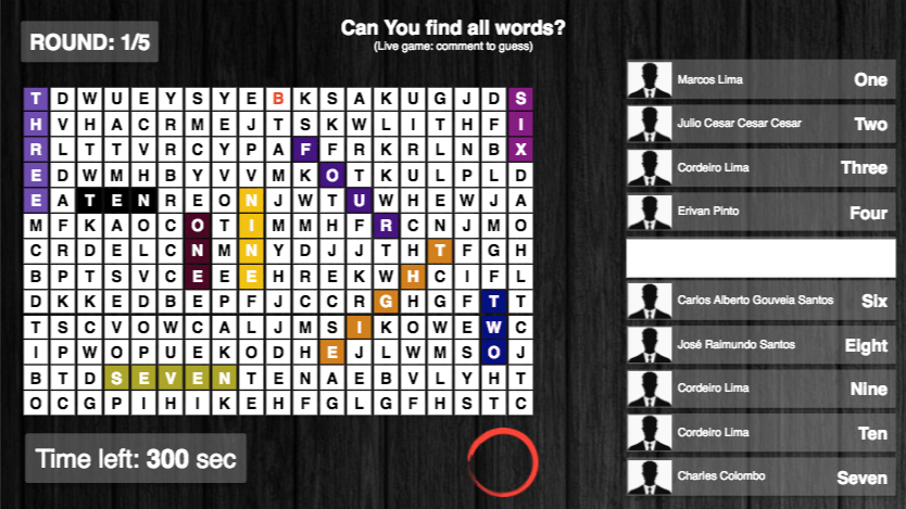 Facebook Live word search game